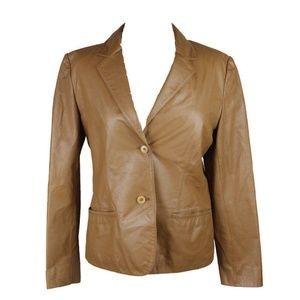 Jones New York Caramel Leather Blazer Jacket XL
